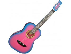 Гитара акустическая Тим 39 розовая с голубым