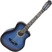 Гитара акустическая Тим 41 с мягким вырезом синяя с чёрным